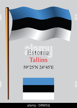 estonia wavy flag and coordinates against gray background, vector art illustration, image contains transparency - Stock Photo