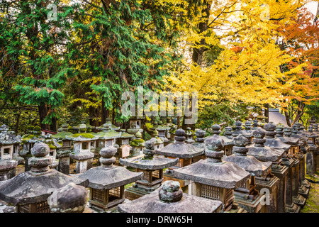 Nara, Japan. Japanese lanterns at Kasuga-taisha Shrine. - Stock Photo