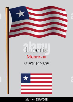 liberia wavy flag and coordinates against gray background, vector art illustration, image contains transparency - Stock Photo