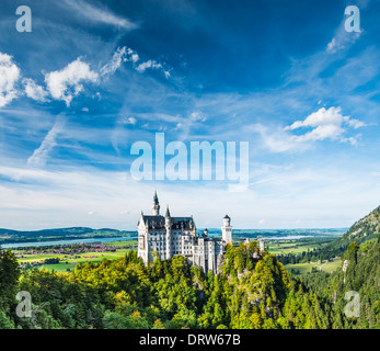 Neuschwanstein Castle in the Bavarian Alps of Germany. - Stock Photo