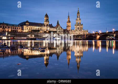 Dresden, Germany on the Elbe River. - Stock Photo