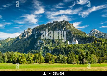 Neuschwanstein Castle in the Bavarian Alps of Germany. - Stock Photo