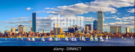 Boston, Massachusetts skyline panorama at Back Bay over the Charles River - Stock Photo