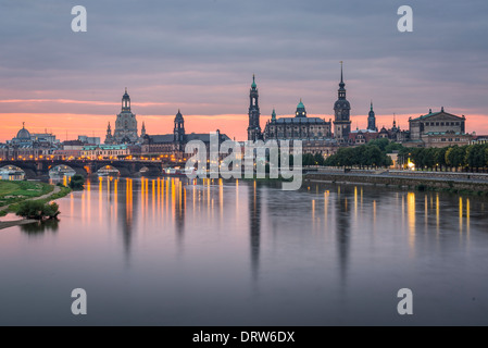 Dresden, Germany above the Elbe River at dawn - Stock Photo