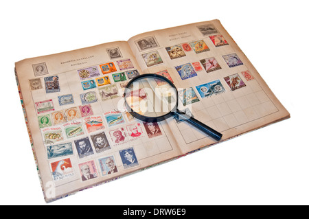 Stamp collecting hobby - Stock Photo