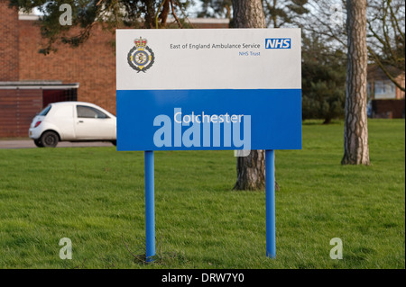 East of England Ambulance Service sign outside the ambulance depot in Colchester,UK - Stock Photo