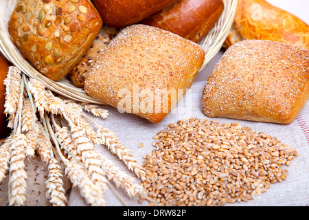 Bread, bread grain and ears bunch. still life on rustic background - Stock Photo
