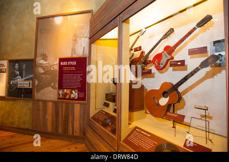 USA Mississippi MS Miss Indianola B B King Museum Blues great musician interior with guitars - Stock Photo