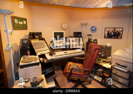USA Mississippi MS Miss Indianola B B King Museum Blues great musician replica of his home office studio - Stock Photo