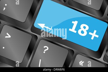 18 plus button on computer keyboard keys - Stock Photo