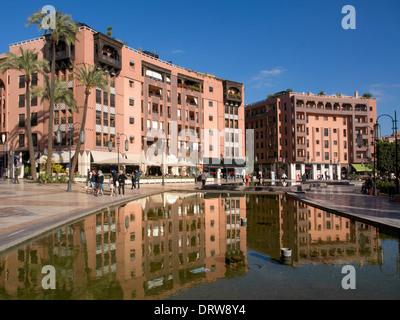 Western style offices in Plaza at Place du 16 Novembre, Gueliz, Ville Nouvelle, Marrakech (Marrakesh) - Stock Photo