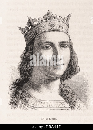 Portrait of Saint Louis king of france - French engraving XIX th century - Stock Photo