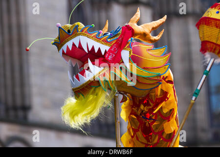 Manchester, Chinatown 2nd February, 2104. High pole dragon dance Chinese New Year in Albert Square, Manchester the - Stock Photo