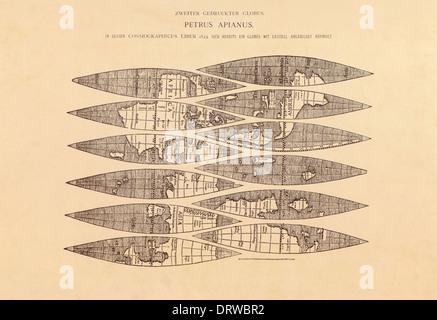 Petrus Apianus (1495-1552) German Mathematician astrologer & cartographer global gores from Cosmographicus liber, - Stock Photo
