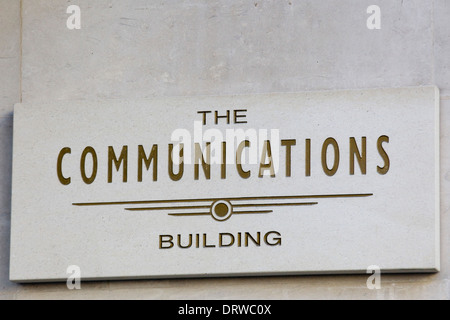 Communications Building sign on the  west side of Leicester Square London - Stock Photo