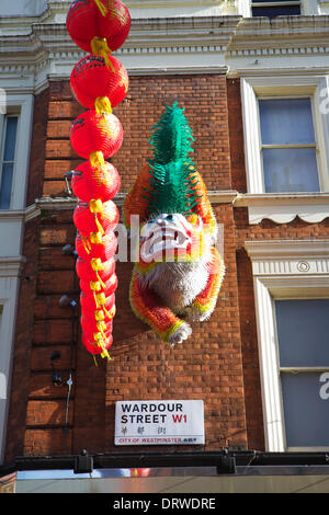 """London, UK. 2nd Feb, 2014. Chinese New Year 2014, """"Year of the Horse"""", is celebrated in London, UK. 2nd February - Stock Photo"""