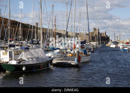 YACHTS IN HARBOUR & CASTLE PEEL ISLE OF MAN 10 October 2013 - Stock Photo