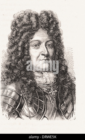 Portrait of Louis XIV King of France - French engraving XIX th century - Stock Photo