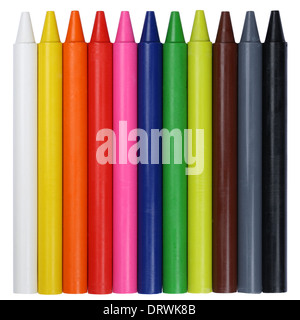 Colorful crayons in a row, isolated on a white background