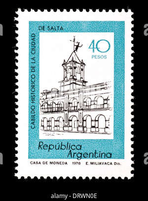 Postage stamp from Argentina depicting the city hall of Salta. - Stock Photo