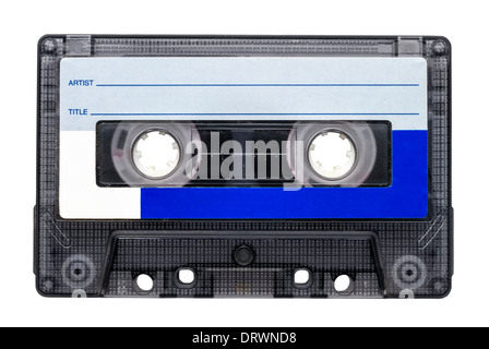 Magnetic tape cassette for audio music recording isolated over white background. - Stock Photo