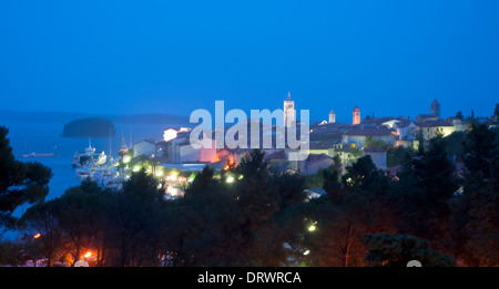 Rab island, old city view in the Evening, Croatia - Stock Photo