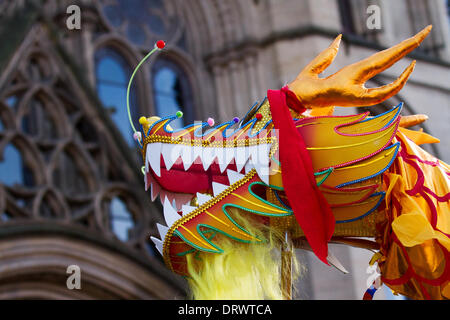 Manchester, Chinatown 2nd February, 2104.   High pole dragon dance at the Chinese New Year in Albert Square, Manchester - Stock Photo