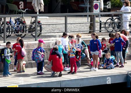 School trip Children Copenhagen Denmark - Stock Photo