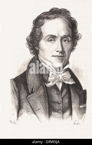 Portrait of Casimir Delavigne - French engraving XIX th century - Stock Photo