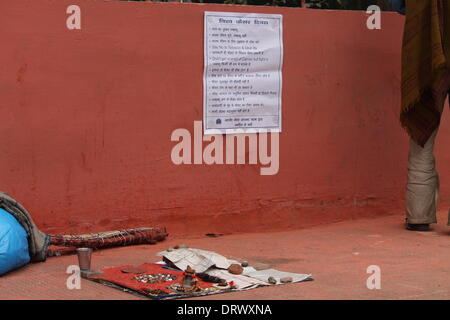 South Gandhi Maidan, Patna, Bihar, India, February 3, 2014. Poster for cancer awareness pasted on wall by students - Stock Photo