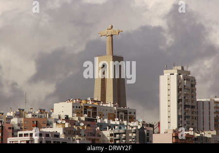 Portugal. Almada. View and monument of Christ the King (Cristo Rei). Inaugurated on 17 may 1959. - Stock Photo