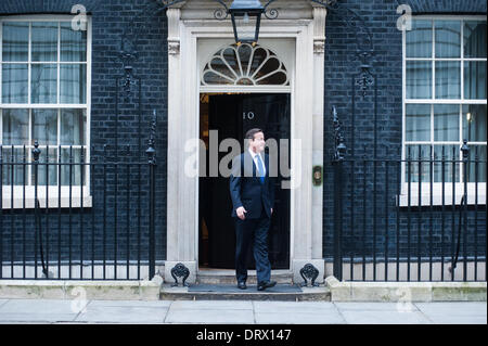 London, UK - 3 February 2014: NATO Secretary General, Mr. Anders Fogh Rasmussen meets Prime Minister David Cameron, the Foreign Secretary, William Hague, and the Defence Secretary, Philip Hammond in Downing Street. Credit:  Piero Cruciatti/Alamy Live News Stock Photo