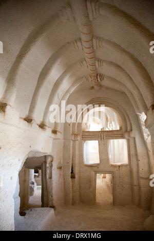 rock church, rose valley, landscape, cappadocia, anatolia, turkey, asia - Stock Photo