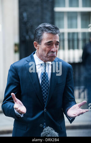 London, UK - 3 February 2014: NATO Secretary General, Mr. Anders Fogh Rasmussen release interviews after meeting - Stock Photo