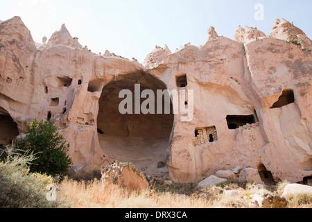 geological formations, zelve open-air museum, cappadocia, anatolia, turkey, asia - Stock Photo