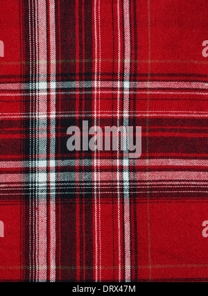Texture of red-black checkered fabric pattern background - Stock Photo