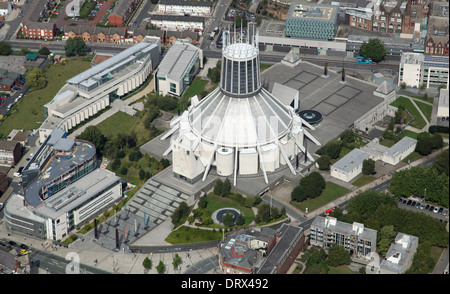 aerial view of The Metropolitan Cathedral of Christ the King in the Roman Catholic Archdiocese of Liverpool - Stock Photo