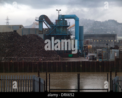 Industry in Newhaven on the bank of the Ouse Estuary - Stock Photo