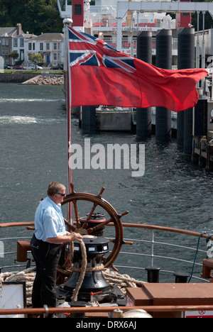 Deckhand on P.S. Waverley Casting Off from Rothesay Pier Isle of Bute - Stock Photo