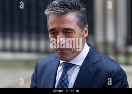 Westminster London, UK. 3rd February 2014. NATO Secretary-General Anders Fogh Rasmussen met with British Prime Minister - Stock Photo