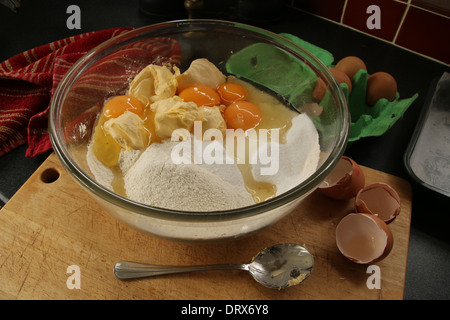 Victoria sponge cake ingredients ready to mix in a  bowl (1of series of 3) - Stock Photo