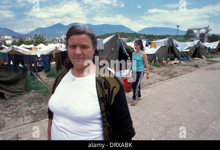 Swimming pool refugee camp in Tirana Albania for Kosovar refugees that fled the Kosovan war in 1999 - Stock Photo