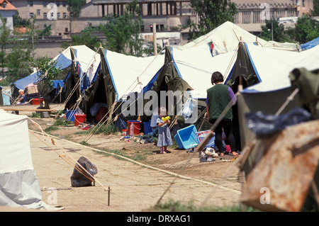 Swimming pool refugee camp in Tirana Albania for Kosovar refugees that fled the Kosovan war in 1999, Tirana, Albania - Stock Photo