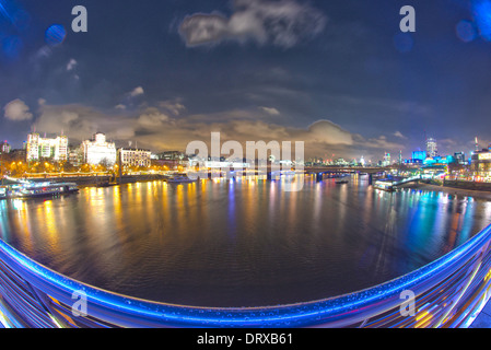 East view of Thames from Hungerford Bridge - Stock Photo
