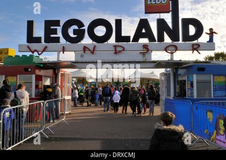 Entrance gate at Legoland, Windsor, UK - Stock Photo