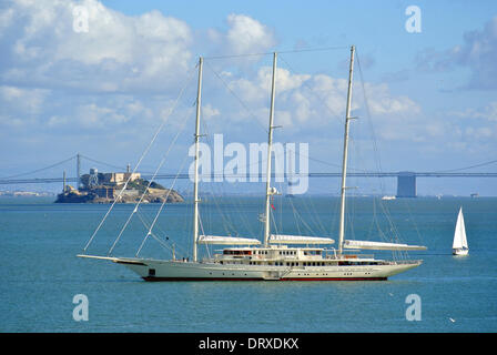 Athena the worlds fourth largest yacht built by Royal Huisman for  Netscape Internet entrepreneur James H. Clark - Stock Photo