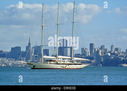 The luxury Yacht Athen 4th largest yacht in the world   anchors off Sausalito In San Francisco Bay after crossing - Stock Photo