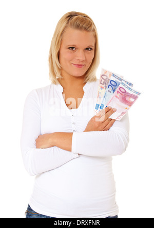 Attractive young woman holding euro notes. All on white background. - Stock Photo