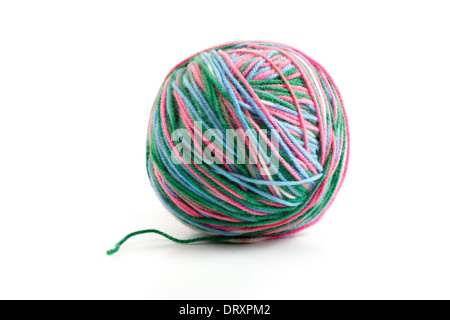 melange ball of wool on a white background - Stock Photo