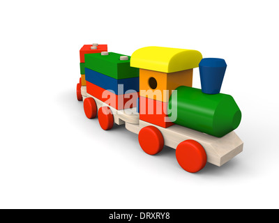 3D illustration of colorful wooden toy train - Stock Photo